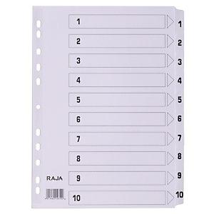 Staples Separador preimpreso, A4, Cartón con revestimiento de película de poliéster, 10 piezas, Blanco