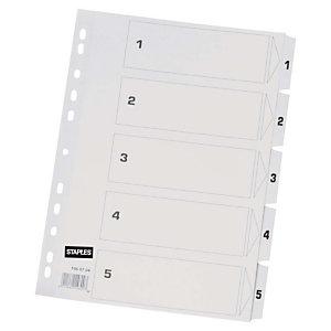 Staples Separador preimpreso, A4, Cartón con revestimiento de película de poliéster, 5 piezas, Blanco