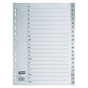 Staples Separador preimpreso, folio, polipropileno, 20 pestañas, gris
