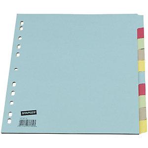 Staples Separadores, A4, cartón, 10 pestañas, colores surtidos
