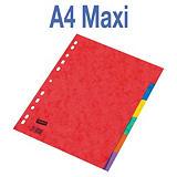 Staples Separadores, A4+, cartón prensado, 6 pestañas, colores surtidos