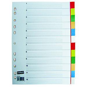 Staples Separadores, A4, polipropileno, 12 pestañas, colores surtidos