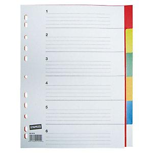 Staples Separadores, A4, polipropileno, 6 pestañas, colores surtidos