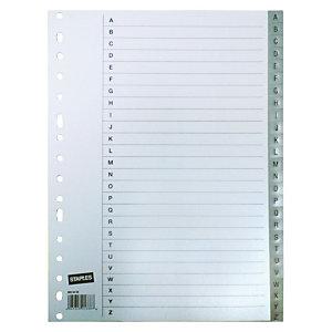 Staples Separadores alfabéticos A-Z, A4, polipropileno, 26 pestañas, gris