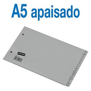 Staples Separadores alfabéticos A-Z, A5 apaisado, polipropileno, 20 pestañas, gris