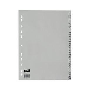Staples Separadores numéricos 1-31, A4, polipropileno, 31 pestañas, gris