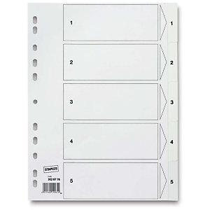 Staples Separadores numéricos 1-5, A4, polipropileno, 5 pestañas, blanco