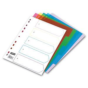 Staples Separadores numéricos 1-5, A4, polipropileno, 5 pestañas, colores surtidos