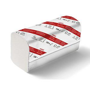 Staples Serviettes en papier pliées, pliage en W, double épaisseur, 134 feuilles, gaufrées, 220 mm, Blanc