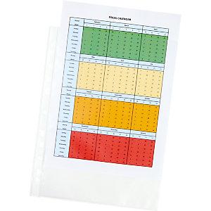 Staples Standard Funda perforada, A4, polipropileno de 65 micras, 11 orificios, rugosa, transparente