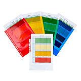 Staples Standard Funda perforada, A4, polipropileno de 90 micras, 11 orificios, rugosa, rojo, azul, verde y amarillo transparente