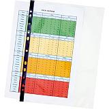 Staples Standard Plus Funda perforada, A4, polipropileno de 75 micras, 11 orificios, lisa, transparente con banda negra