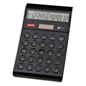 Staples Stylish Calcolatrice da tavolo, 12 cifre, Doppia alimentazione