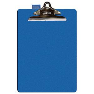 Staples Tabla de pinza portapapeles, A4, cartón rígido forrado en PVC, azul