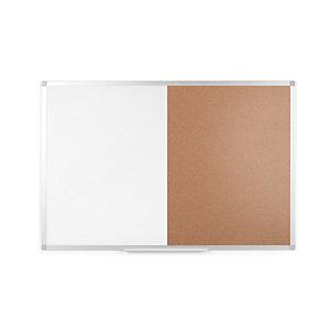Staples Tablón combinado, corcho/pizarra blanca, marco de aluminio, 900 x 600 mm, marrón/blanco