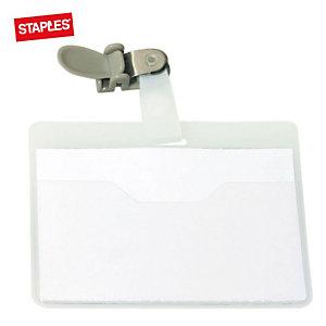 Staples Tarjeta de identificación de seguridad con pinza giratoria, PVC, horizontal, 90 x 60mm, transparente