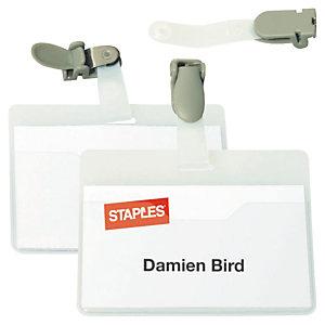 Staples Tarjeta de identificación de visitante con pinza giratoria, PVC, horizontal, 90 x 60mm, transparente