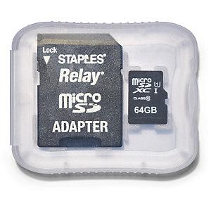 Staples Tarjeta microSDXC Relay de 64 GB con adaptador SD