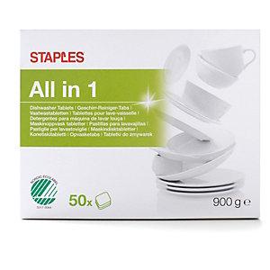 Staples Todo en Uno Detergente en pastilla para máquinas lavavajillas, 50 x 18 g