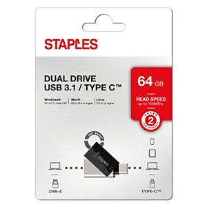 Staples Unidad flash doble, USB-C y 3.1, diseño giratorio, 64 GB, negro