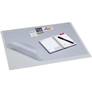 Staples Vade de escritorio con cubierta, plástico, 630 x 500 mm, gris