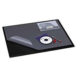 Staples Vade de escritorio con cubierta, plástico, 630 x 500 mm, negro