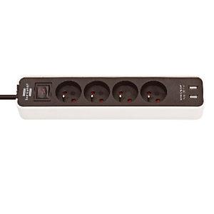 Stekkerdoos Ecolor Brennenstuhl, 4 stopcontacten, 2 USB stopcontacten, zwarte en witte kleur