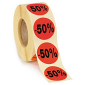 "Sticker promotionnel ""-50%"" & ""Offre spéciale"" fluo"