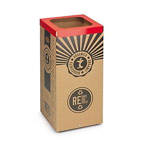 Stil Casa Poubelle carton de tri sélectif pour le recyclage des biodéchets 60L - Couvercle métal Rouge