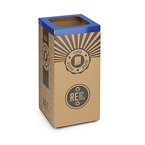 Stil Casa Poubelle carton de tri sélectif pour le recyclage du papier 100L - Couvercle métal Bleu
