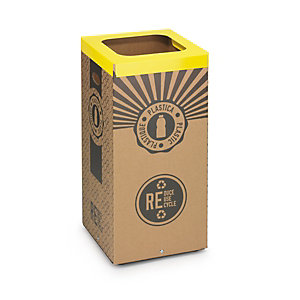 Stil Casa Poubelle carton de tri sélectif pour le recyclage du plastique 60L - Couvercle métal Jaune