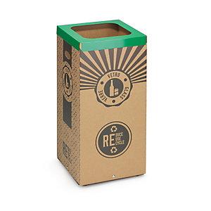 Stil Casa Poubelle carton de tri sélectif pour le recyclage du verre 60L - Couvercle métal Vert