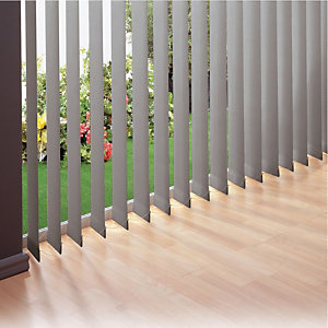 Store à bandes verticales sur mesure - Lames larg. 127 mm - Tissu screen anti-chaleur - Coloris gris aluminium