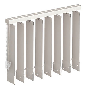 Store à bandes verticales sur mesure, lames largeur 27 mm, tissu screen anti chaleur coloris gris alu