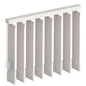Store à bandes verticales sur mesure, lames largeur 27 mm, tissu screen anti chaleur coloris gris anthracite