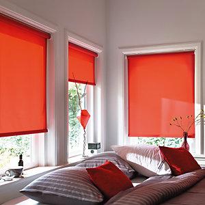 Store enrouleur sur mesure, tissu polyester tamisant, coloris rouge