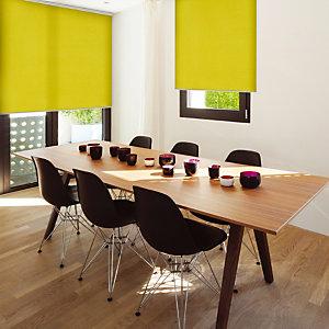 Store enrouleur sur mesure, tissu polyester tamisant, coloris vert anis