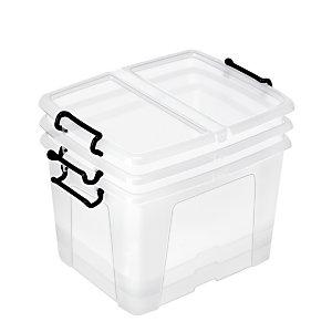 STRATA Contenitore archivio con coperchio Strata, Polipropilene trasparente, 40 litri