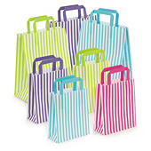 Striped paper carrier bags with flat handles