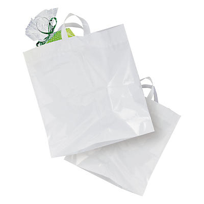 Strong white plastic carrier bags