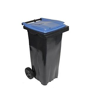 SULO® Conteneur poubelle mobile 2 roues - 120 litres prise frontale - Couvercle bleu