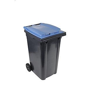 SULO® Conteneur poubelle mobile 2 roues - 240 litres prise frontale - Couvercle bleu