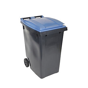 SULO® Conteneur poubelle mobile 2 roues - 360 litres prise frontale - Couvercle bleu