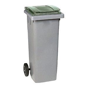 SULO® Conteneur poubelle mobile 2 roues - 80 litres prise frontale - Couvercle vert