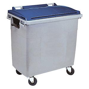 SULO® Conteneur poubelle mobile 4 roues - 660 litres prise frontale et prise latérale - Gris, couvercle bleu