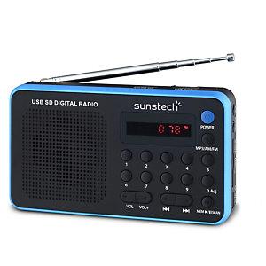 Sunstech Portable digital AM/FM radio Black, Portátil, Analógica, AM,FM,PLL, 1,4 W, MP3,WMA, LED RPDS32BL
