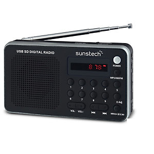 Sunstech Portable digital AM/FM radio silver, Portátil, Analógica, AM,FM,PLL, 1,4 W, LED, Rojo RPDS32SL