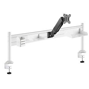 Support bras-écran et organiseur ergonomique Ergostation - L. 125 x P. 40 cm - Blanc