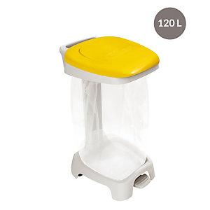 Support sac à pédale  avec couvercle 120 L jaune