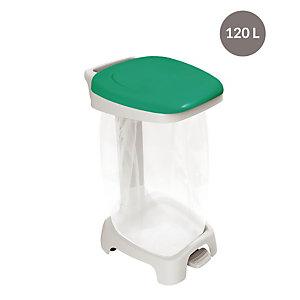 Support sac à pédale  avec couvercle 120 L vert